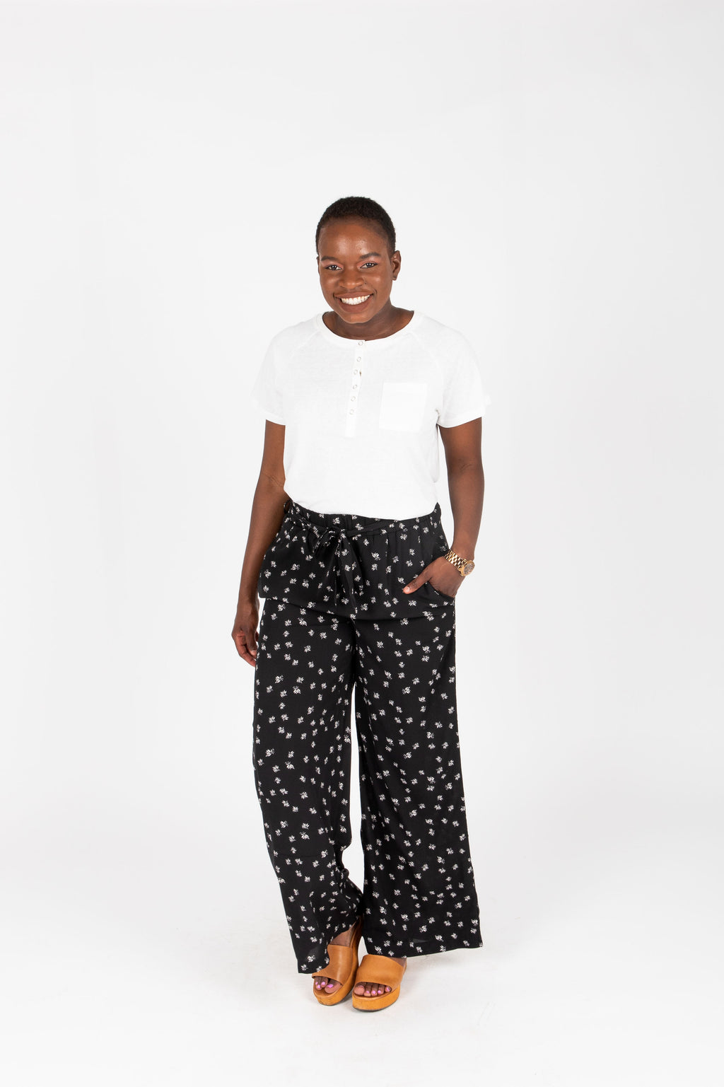 The Corbin Printed Wide Leg Trouser in Black, studio shoot; front view