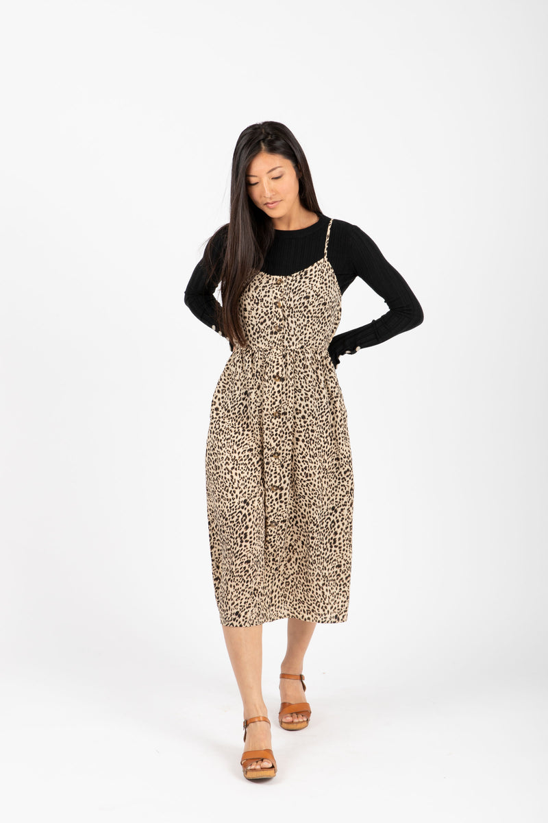 The Unreal Leopard Tank Dress in Coco, studio shoot; front view