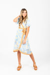 Piper & Scoot: The Jill Floral Contrast Wrap Dress in Blue