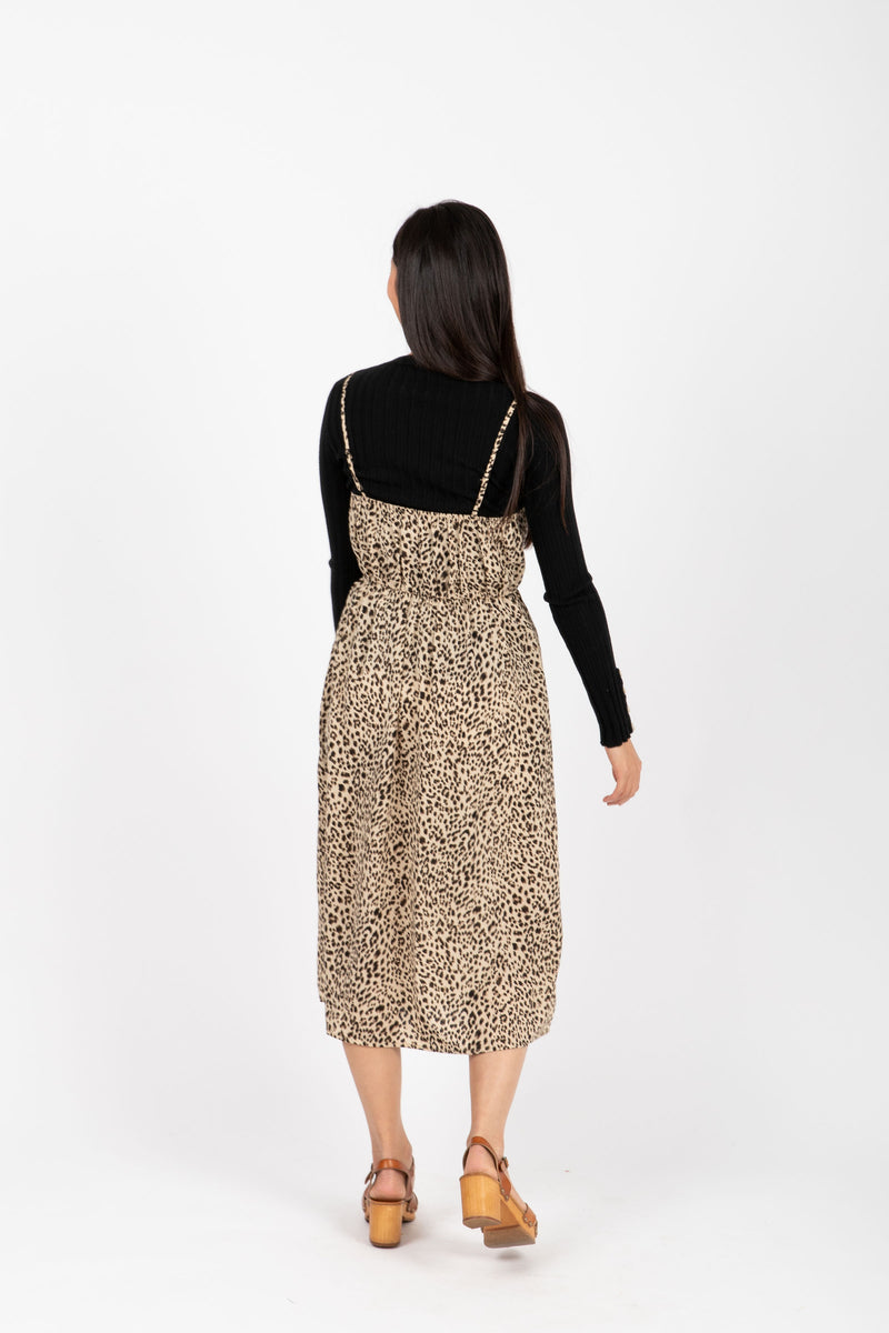 The Unreal Leopard Tank Dress in Coco, studio shoot; back view