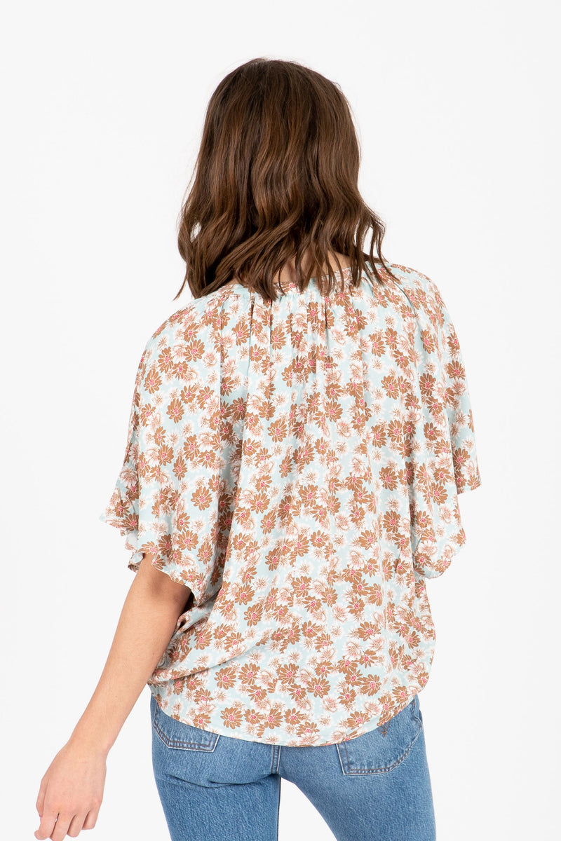The Disco Floral Blouse in Sky