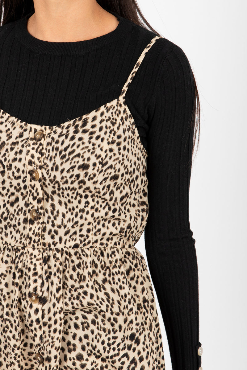 The Unreal Leopard Tank Dress in Coco, studio shoot; closer up front view