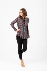Free People: All About The Feels Plaid Buttondown in Aubergine