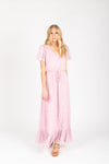The Soar Floral Ruffle Maxi Dress in Mauve, studio shoot; front view