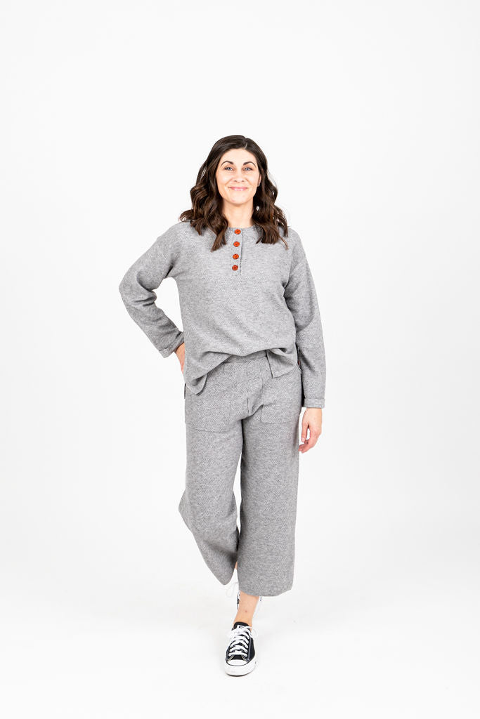 The Ethel Knit Button Set in Heather Grey