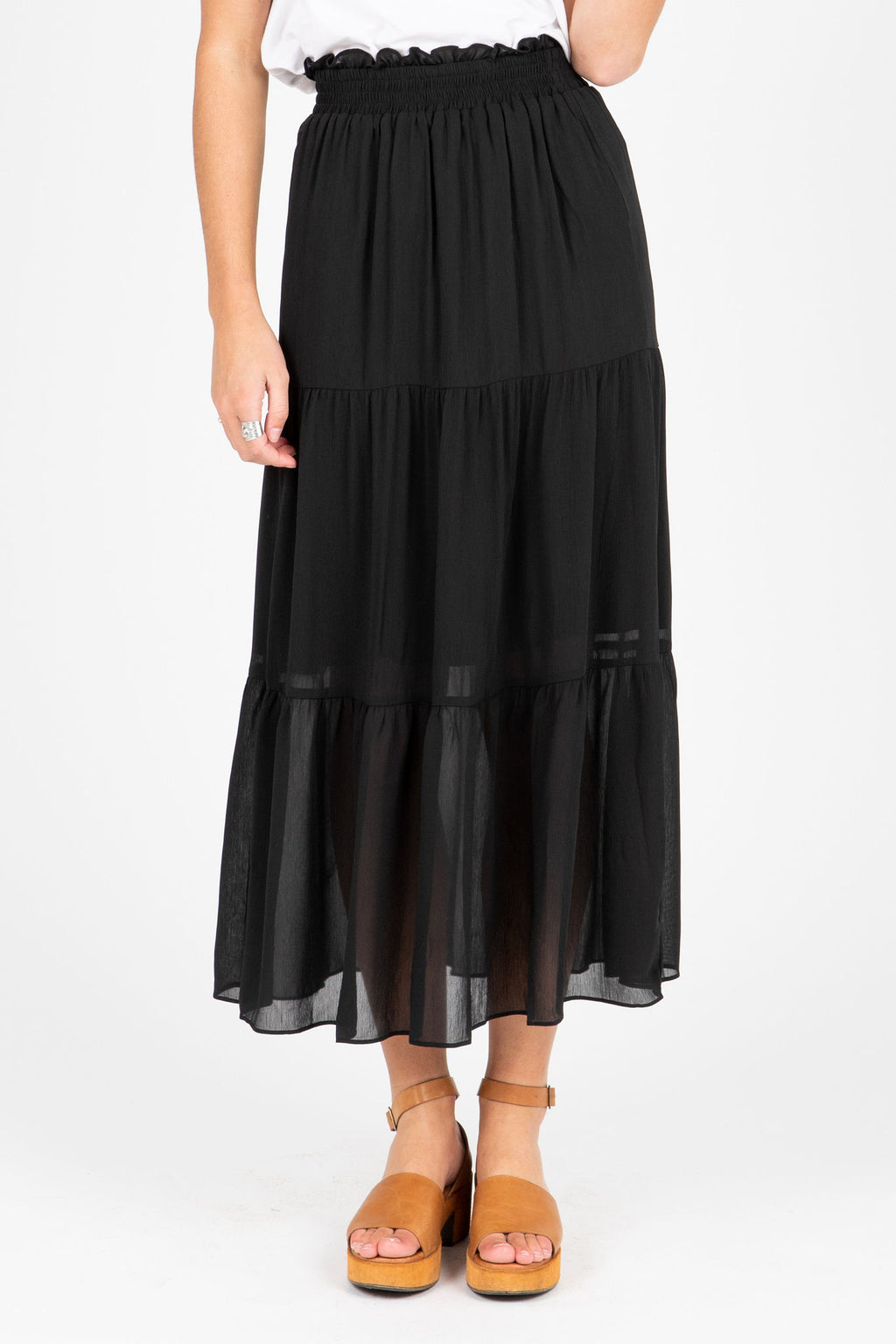 The Jason Tiered Skirt in Black, studio shoot; front view