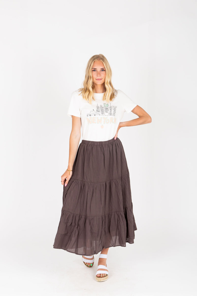 The Ali Tiered Skirt in Charcoal, studio shoot; front view