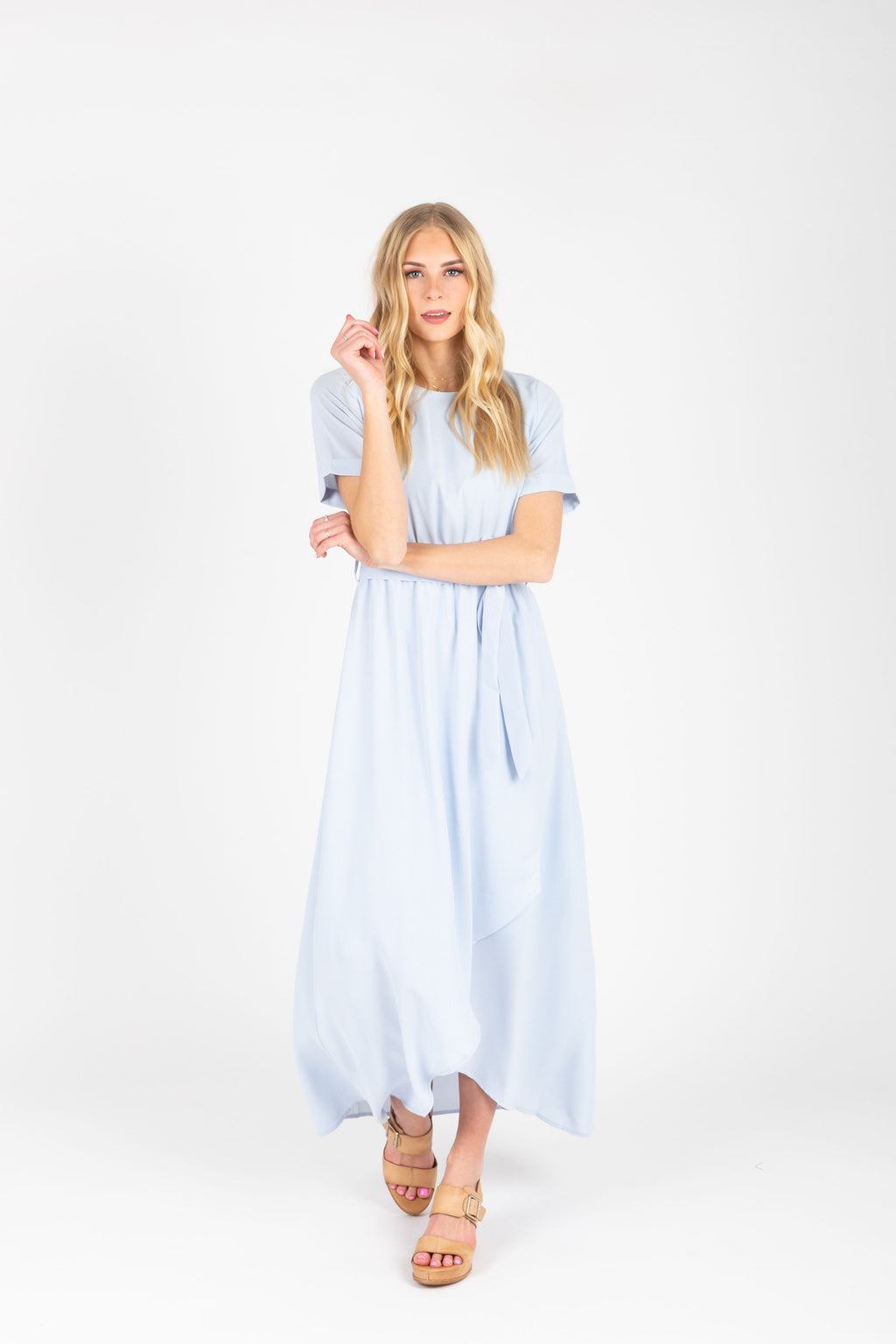The Lily Empire Wrap Dress in Powder Blue