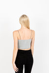 The Fran Basic Crop Tank in Light Grey, studio shoot; back view