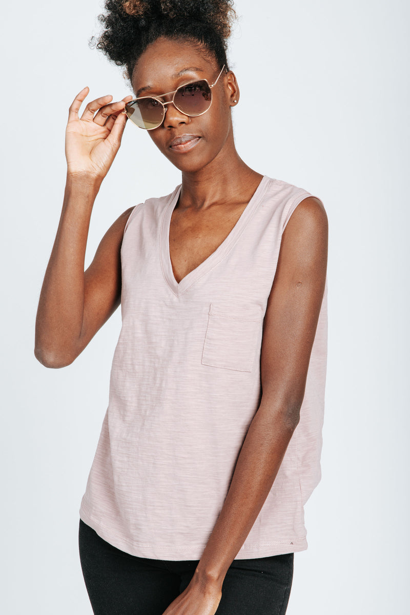 , The Rach Casual V-Neck Tank in Mauve, studio shoot; front view
