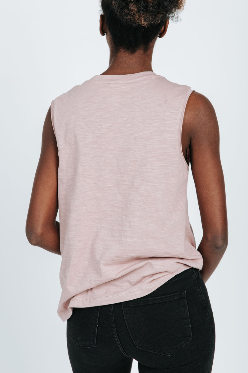 , The Rach Casual V-Neck Tank in Mauve, studio shoot; back view