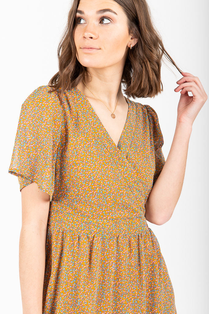 Piper & Scoot: The Peyton Wrap Flutter Sleeve Dress in Mustard