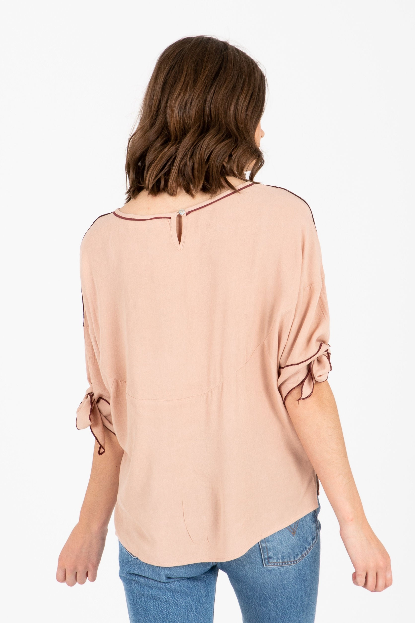 The Shark Tie Sleeve Blouse in Blush