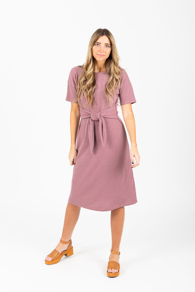 Piper & Scoot: The Roslyn Tie Front Dress in Rose