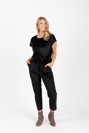 Piper & Scoot: The Bianca Cinch Velvet Jumpsuit in Black, studio shoot; front view