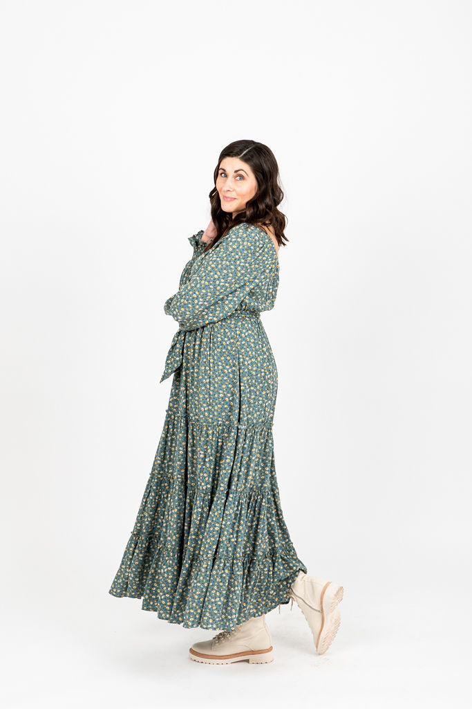 The Alfred Tiered Floral Dress in Jade, studio shoot; side view
