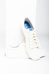 Keds: Crew Kick 75 Canvas in Off White, studio shoot; front view