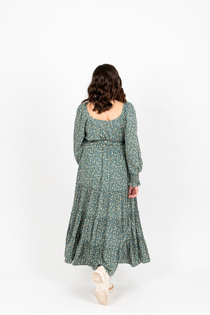 The Alfred Tiered Floral Dress in Jade, studio shoot; back view