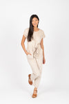 Piper & Scoot: The Bianca Cinch Velvet Jumpsuit in Beige, studio shoot; front view