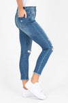 The Liz High Rise Button Skinny Jeans, studio shoot; side view