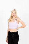 The Moody Ribbed Crop Tank in Lavender, studio shoot; front view