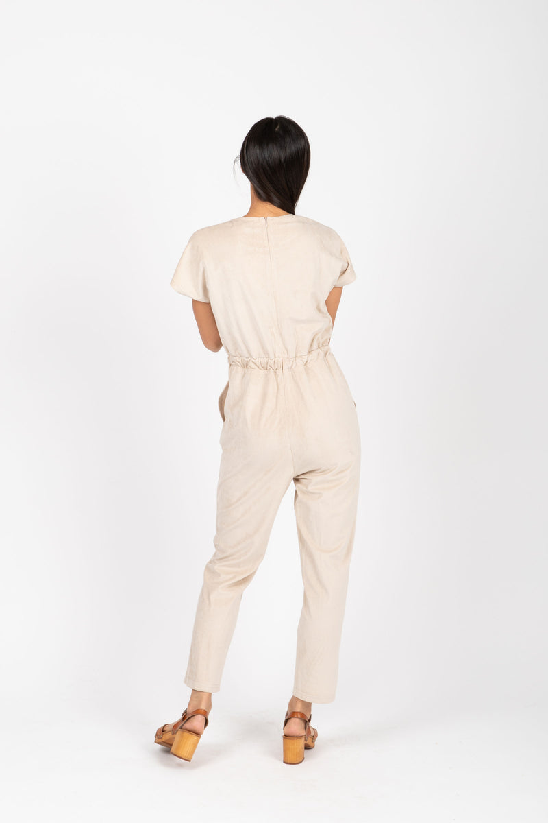 Piper & Scoot: The Bianca Cinch Velvet Jumpsuit in Beige, studio shoot; back view