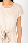 Piper & Scoot: The Bianca Cinch Velvet Jumpsuit in Beige, studio shoot; closer up front view