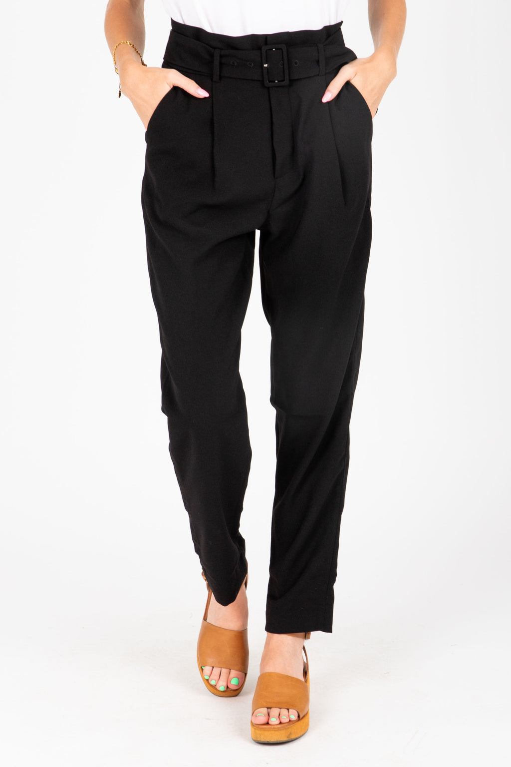 The Dallas Belted Trouser in Black, studio shoot; front view