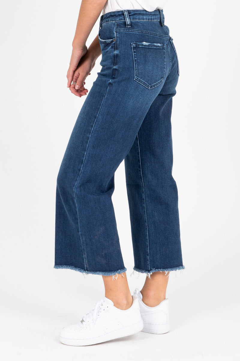 The Jack Wide Leg Denim in Dark, studio shoot; side view