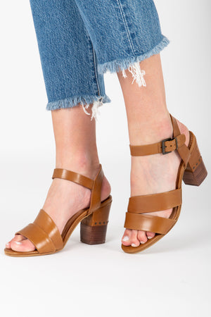 Crevo Footwear: Sienna Heel Sandal in Chestnut Leather