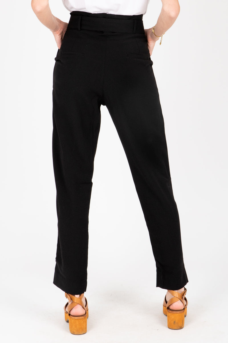 The Dallas Belted Trouser in Black, studio shoot; back view