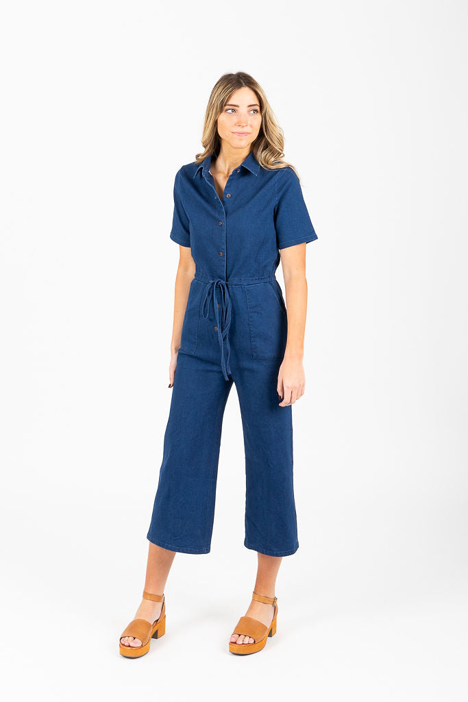 Piper & Scoot: The Alexis Collared Boiler Jumpsuit in Denim