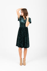 The Vera Velvet Dress in Emerald
