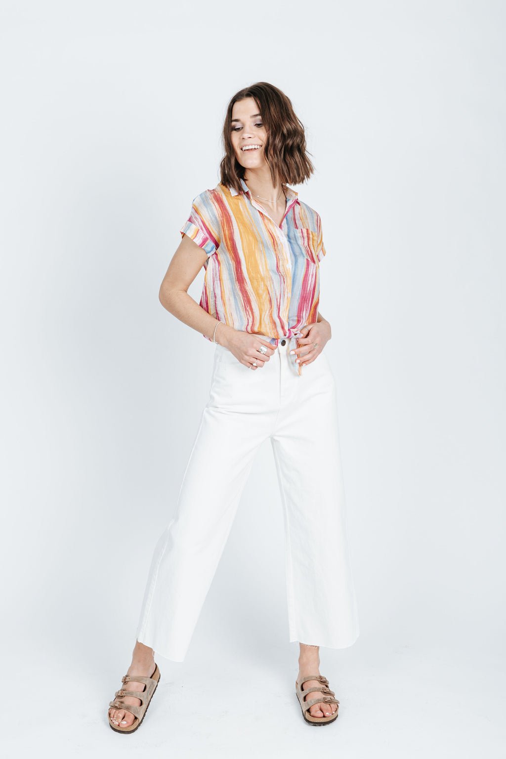 The Isaac Button Up Blouse in Stripe Multi, studio shoot; front view