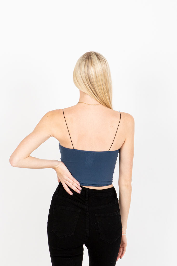 The Fran Basic Crop Tank in Faded Navy, studio shoot; back view
