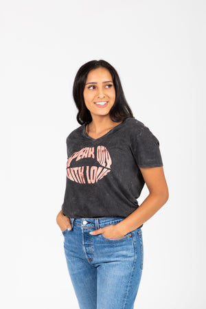 The Speak With Love Tee in Charcoal, studio shoot; front view