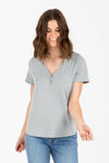 The Nectar Button Henley Blouse in Faded Sage