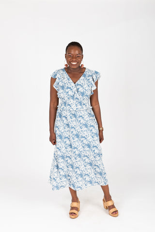 The Sandra Smocked Swiss Dot Dress in Powder Blue