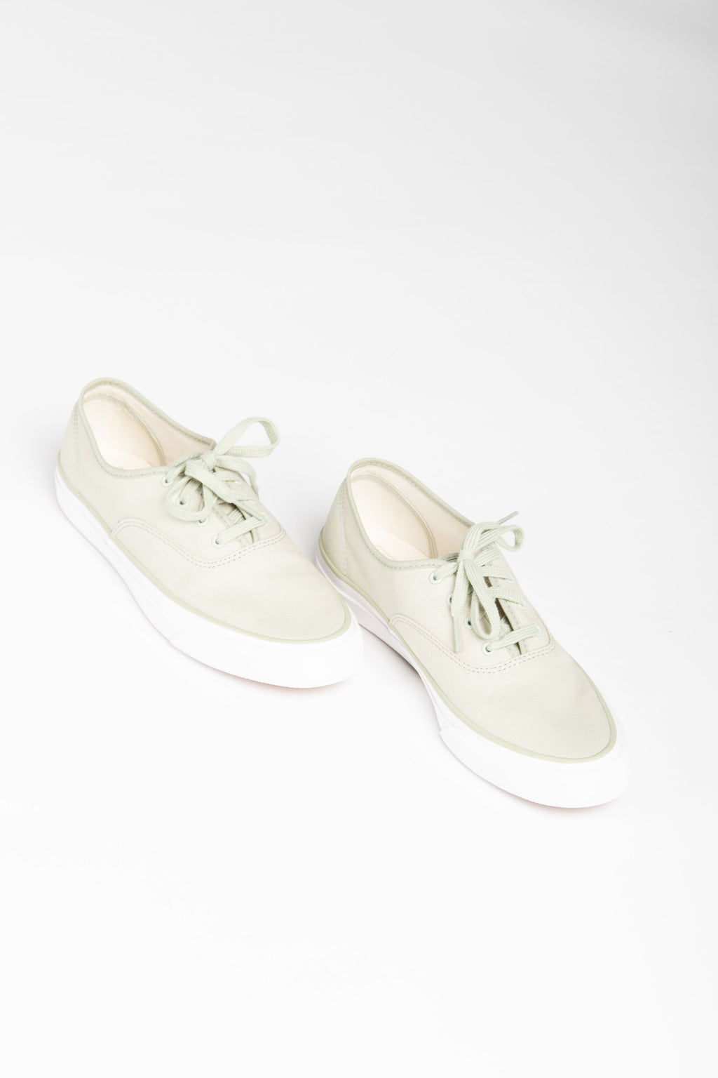 Keds: Surfer Canvas Sneaker in Sage, studio shoot; side view