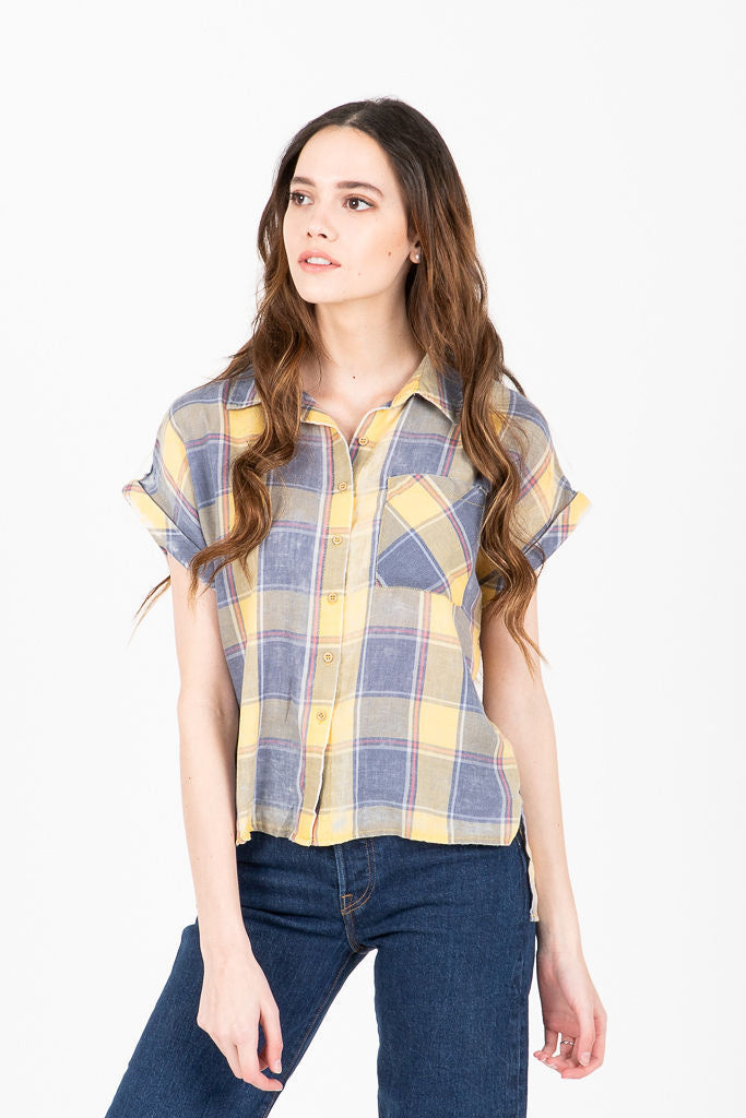 The Duvall Plaid Burnout Collared Button Up Blouse in Yellow