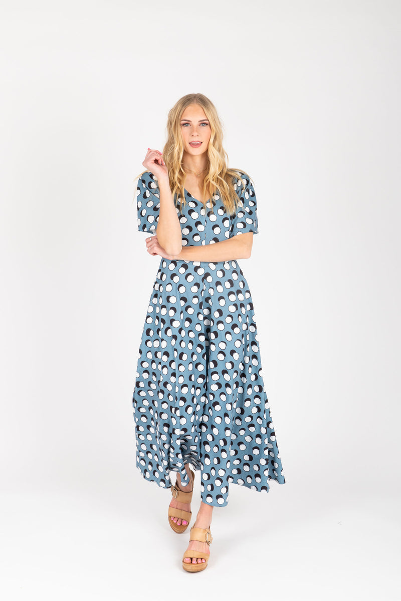 The Lively Patterned Maxi Dress in Blue, studio shoot; front view