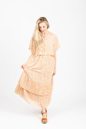 Piper & Scoot: The Firefly Floral Tiered Dress in Peachy Nude, studio shoot; front view