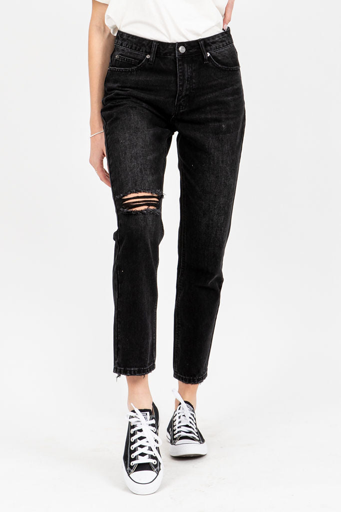 The Serkis High Rise Boyfriend Jeans in Black, studio shoot; front view