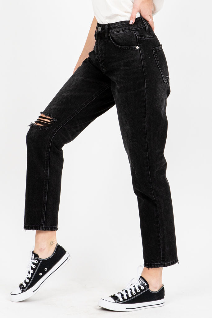 The Serkis High Rise Boyfriend Jeans in Black, studio shoot; side view