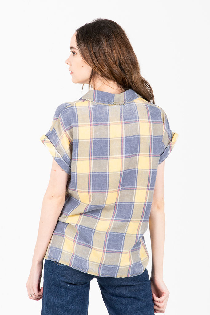 b767eee5 The Duvall Plaid Burnout Collared Button Up Blouse in Yellow – Piper ...