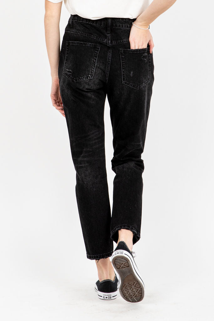 The Serkis High Rise Boyfriend Jeans in Black, studio shoot; back view