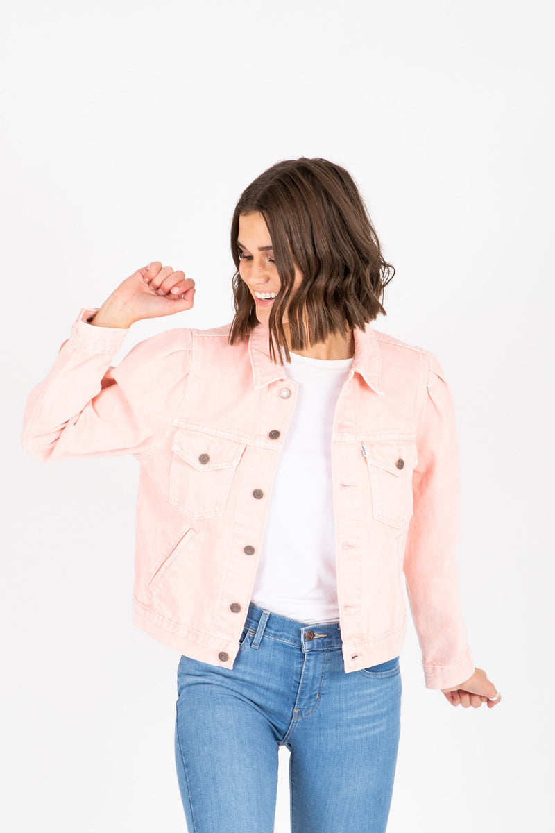 Levi's: Original Puff Sleeve Trucker Jacket in Chalky Blush, studio shoot; front view