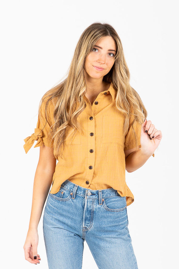 The Connell Collared Button Up Blouse in Mustard