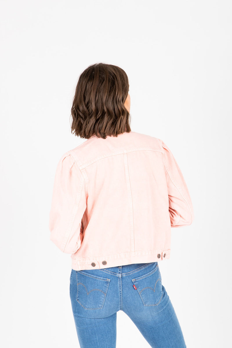 Levi's: Original Puff Sleeve Trucker Jacket in Chalky Blush, studio shoot; back view
