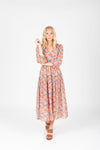 The Brooks Wrap Front Patterned Dress in Mauve